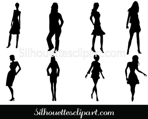 Women Pose Silhouette Vector