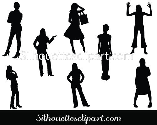 Woman Standing Silhouette Vector Pack