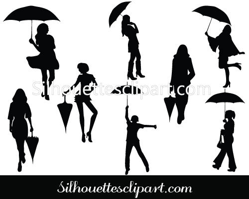 Women with Umbrella Silhouette Vector Graphics