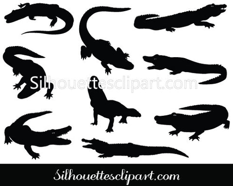 Alligator Silhouette Vector