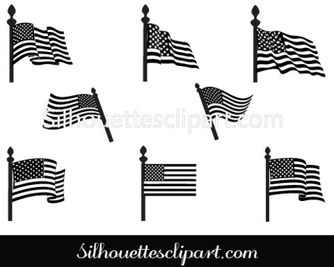 American Flags Silhouette Clip Art Pack