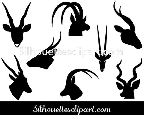 Antelope Head Silhouette Vector