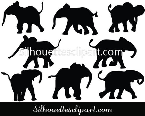 Baby Elephant Vector Graphics