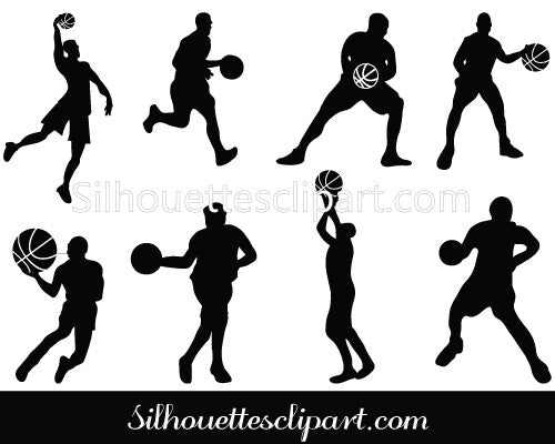 Basketball Players Silhouette Vector