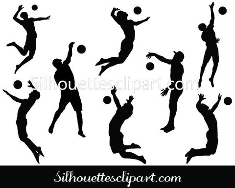 Beach Volleyball Silhouette Vector