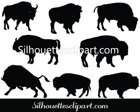 Bison Silhouette Vector Graphics