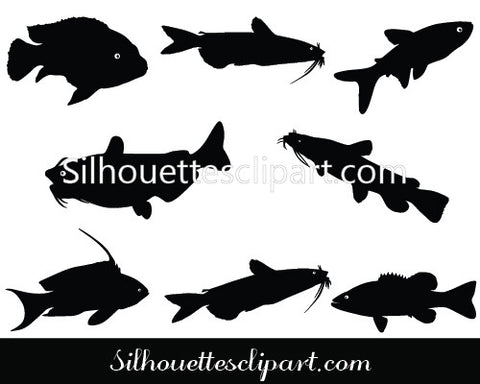 Catfish Silhouette Clipart
