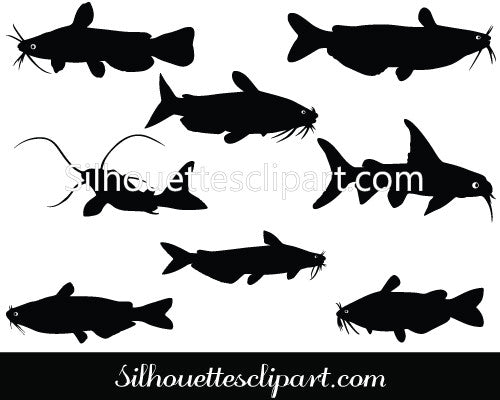 Catfish Silhouette Vector Graphics