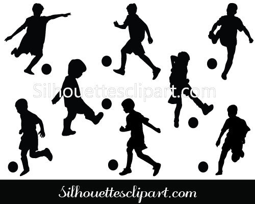 Children Playing Football Silhouette