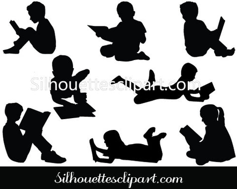 Children Reading Book Silhouette Vector