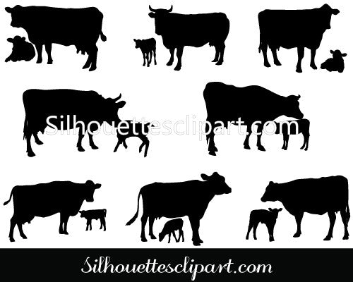 Cow and Calf Vector Silhouette