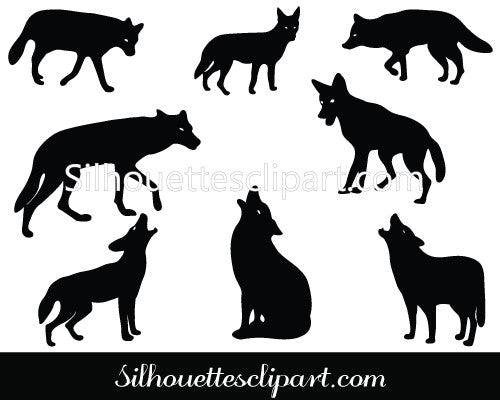 Coyote Silhouette Vector Graphics Pack