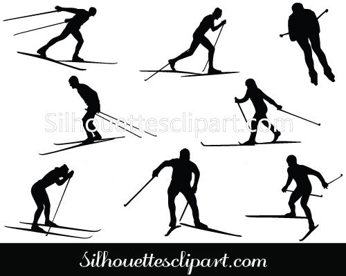 Cross Country Ski Silhouette Cross Country Vectors
