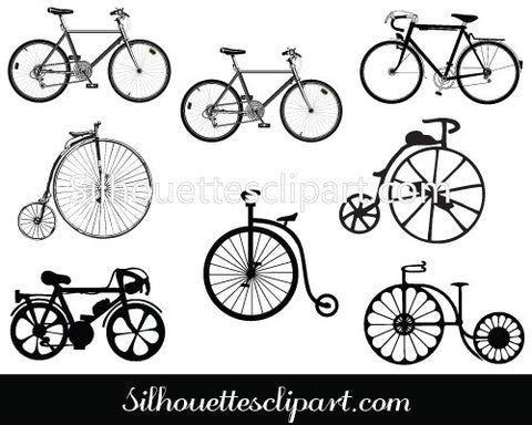 Cycle Silhouette Clip Art Pack