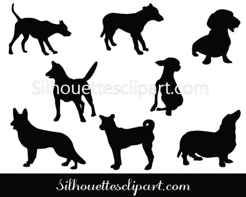 Dog Silhouette Vector Graphics