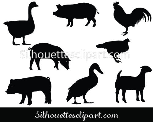 Farm Animals and Birds Vector Graphics