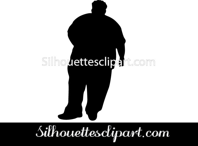 Fat Man Silhouette Vector