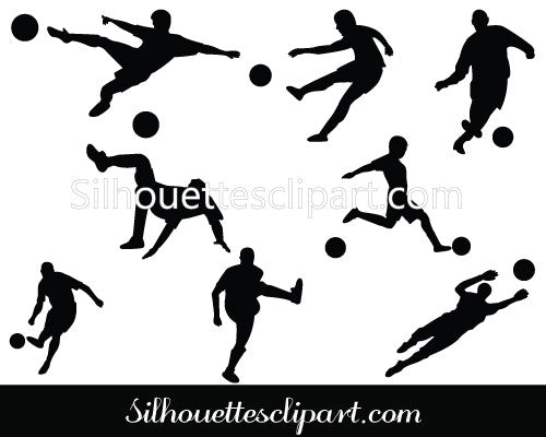 football player silhouette Clip Art Pack