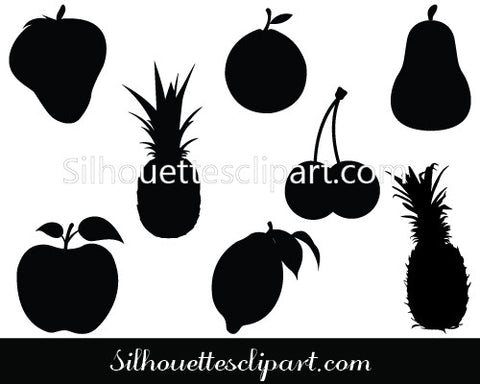 Fruits Silhouette Vector Graphics