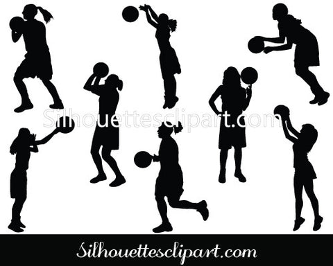 Girl Playing Basketball Vector Graphics