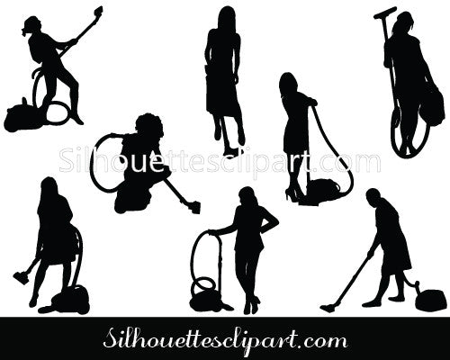 Girl with Vacuum Cleaner Silhouette Vector