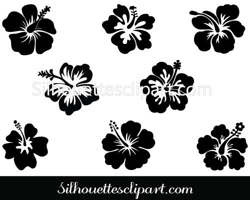 Hibiscus Flower Silhouette Vector Illustration