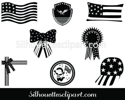 July 4th Celebrations Silhouette Clip Art Pack Template