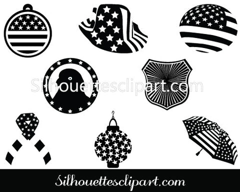 July 4th Decorations Silhouette Clip Art Pack Templa