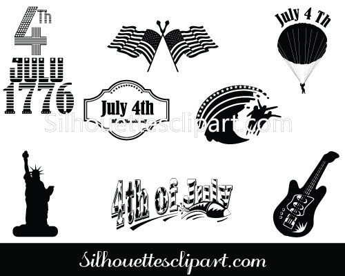 July 4th Independence Day Silhouette Vector Decorations