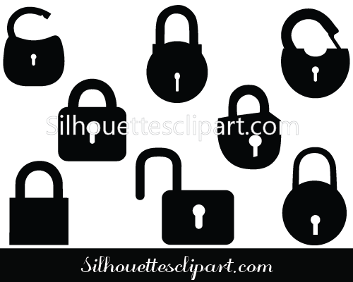 Lock Silhouette Vector Graphics