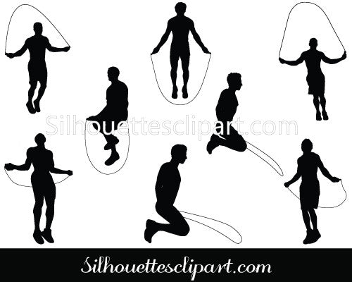 Man Jumping Rope Fitness Silhouette