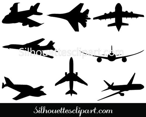 Airplane Silhouette Clip Art Pack Template