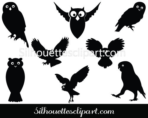 Silhouette of Flying Owl Vector Art