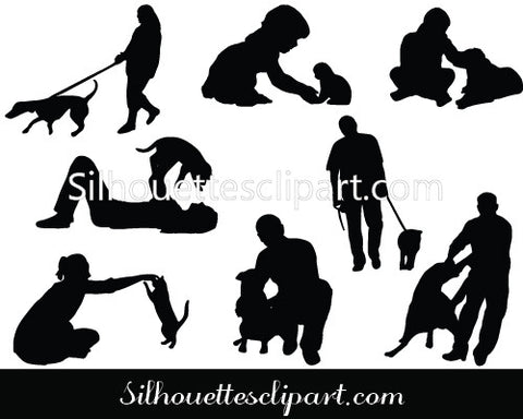 People with Pets Silhouette Vector