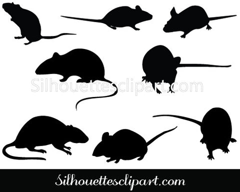 Rodent Silhouette Vector Graphics
