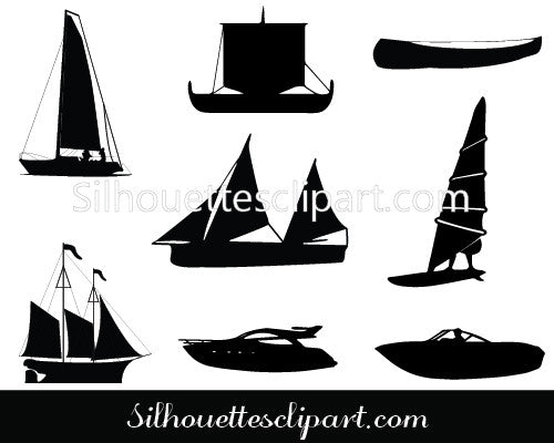Sailboat Silhouette Vector Graphics