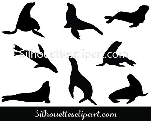Sea Lion Silhouette Vector