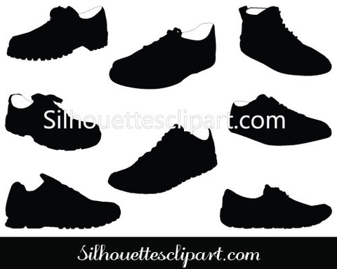 Shoe Silhouette Vector Footwear Graphics