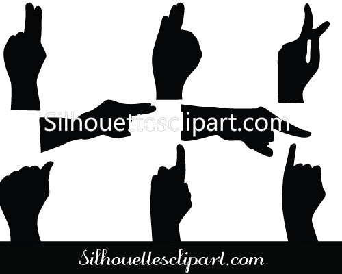 Human Hand Sign Silhouette Vector Illustration