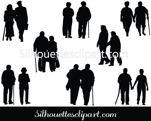 Silhouette Old Couple Walking