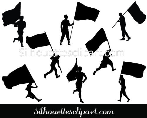 People Silhouette With Flags Silhouette