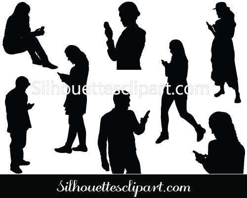 Smartphone User Silhouette Vector