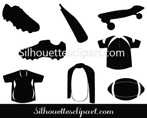 Sports Items Silhouette Vector