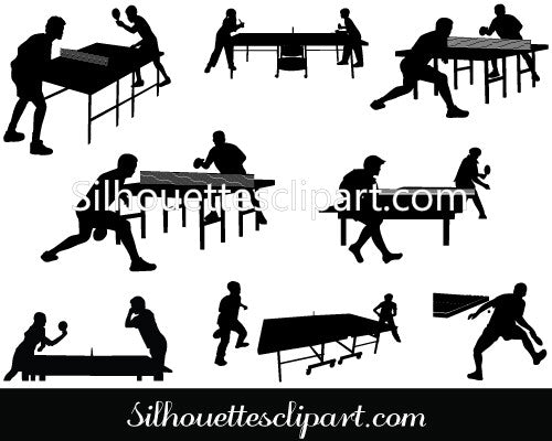 Table Tennis Playing Vector Graphics