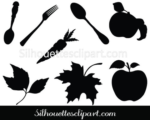 Thanksgiving Food Silhouette Vector