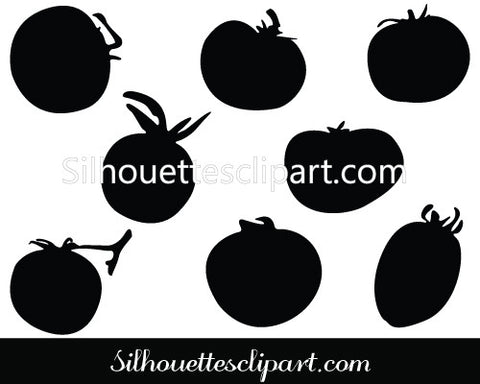 Tomato Silhouette Vector Illustration