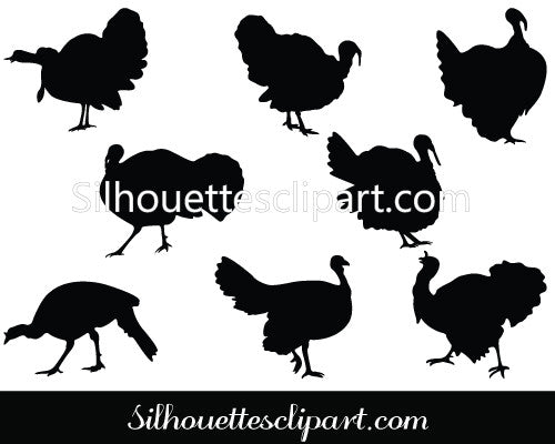 Thanksgiving Turkey Silhouette Vector Illustration