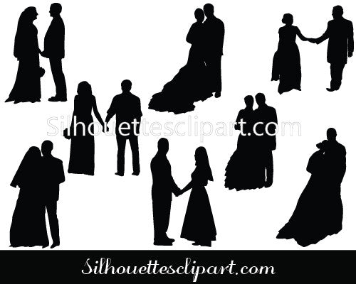 Valentines Couple Silhouette Vector