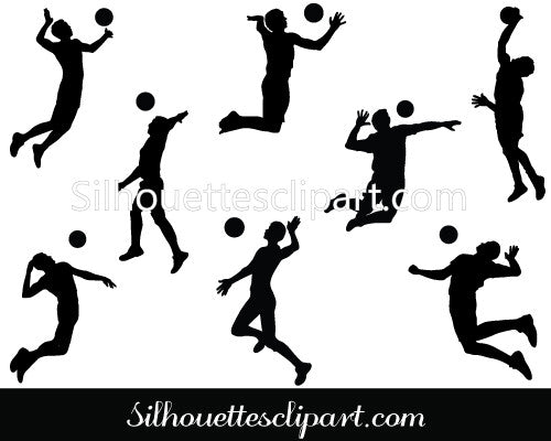 Volleyball Players Vector Graphics