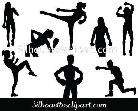 Women Boxing Silhouette Vector